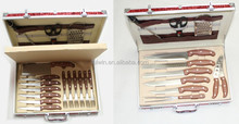 New aluminum case packing 24pcs stainless steel blade kitchen knife set