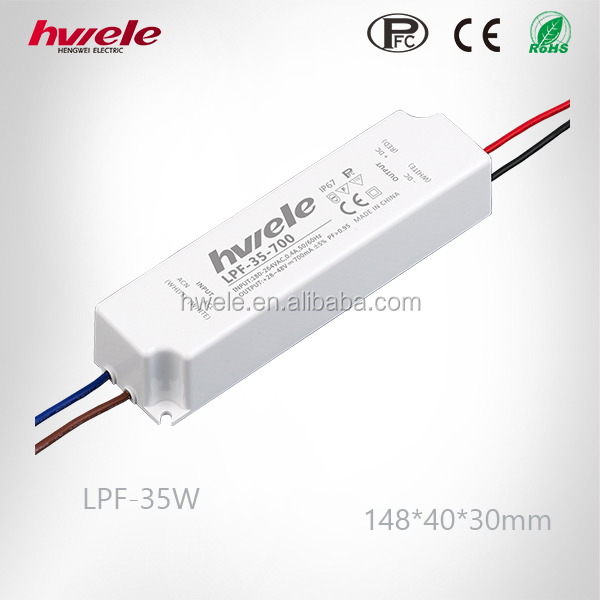 35W LED Driver High PFC Waterproof LED Power Supply Constant Current 350ma/700ma/1050ma 3 Years Warranty
