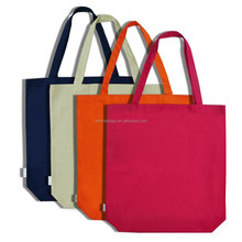 Pure Color OEM Logo 100% Cotton Canvas Shopping Tote Bag Grocery Bag