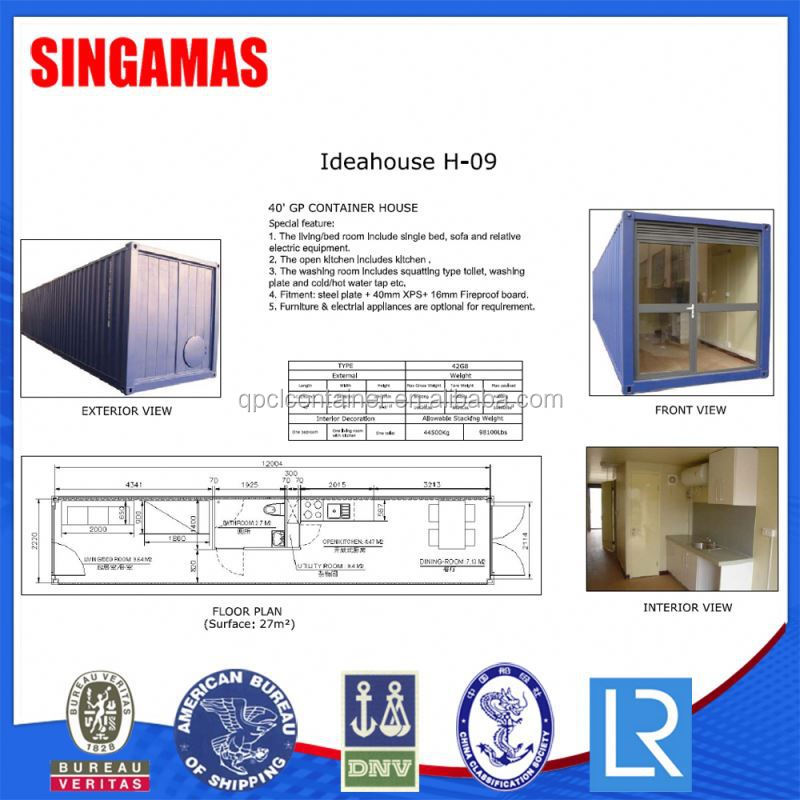 40GP Container House For Construction Site