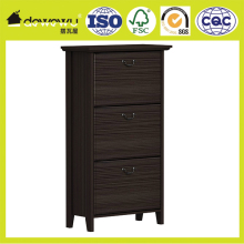 melamine and PVC vacuum tall modern big shoe cabinet with 3 doors