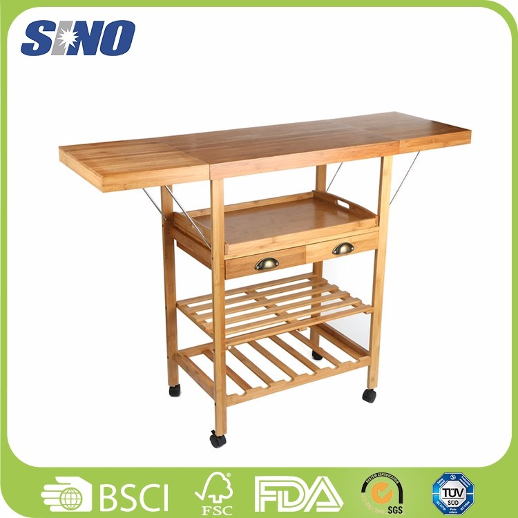 China Healthy Portable Bamboo Fold Serving Cart With Tray