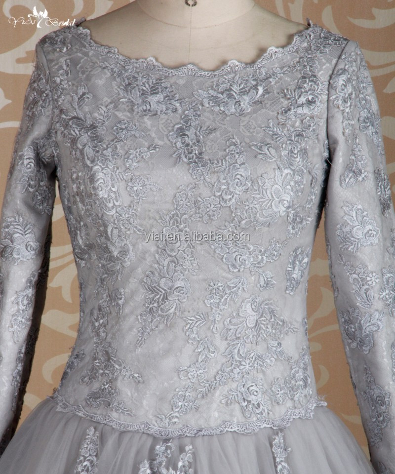 RSE639 Silver Grey Long Sleeves Puffy Ball Gown Patterns Muslim Prom Dresses