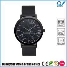 Black marble watch face PVD stainless steel case japan miyota movement Authentic Italian Leather Band