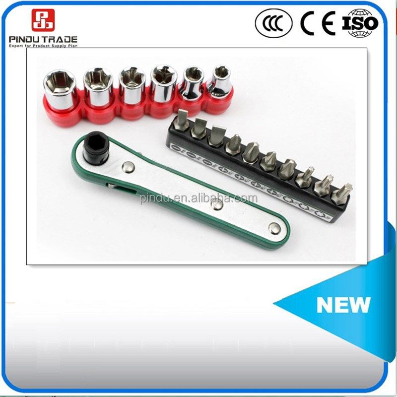 screw spanner with sockets and screwdriver bits