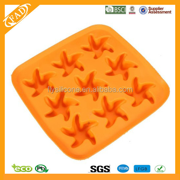 Party Supplies 9-cavity Starfish Shaped Ice Cake Chocolate Sugar Decorating Silicone Fondant Mold Tray