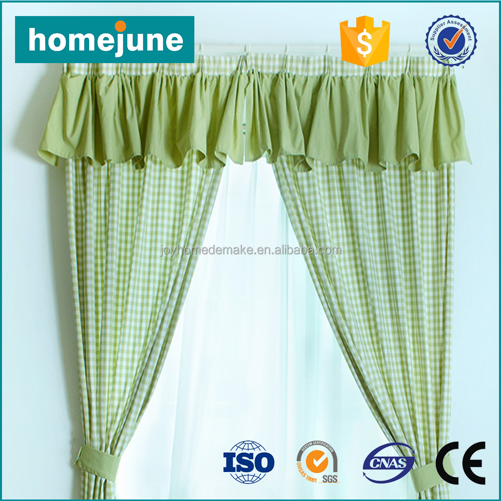2017 unique design fashionable countryside kitchen curtain with valance