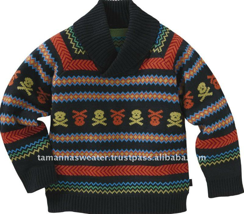 Men 100% Cotton Jacquard Knitted Sweater