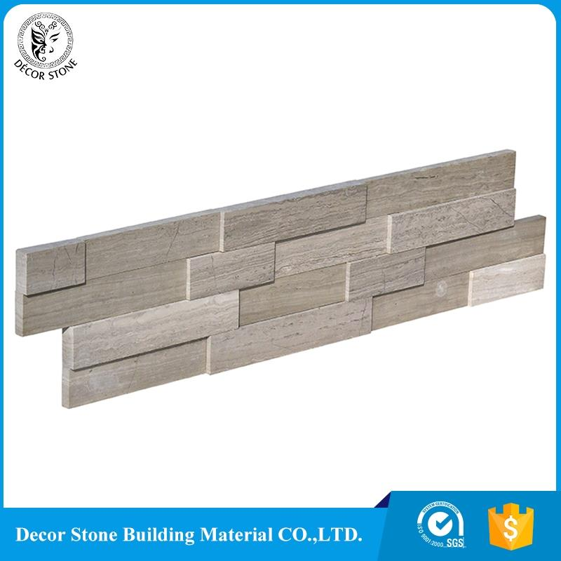 wooden vein grey marble interior stacked stone panel with best quality and low price