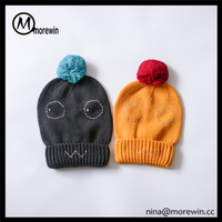 Morewin hats Wholesale Custom Knitted Beanie Hats Caps For Kids Baby Hats With Pompoms