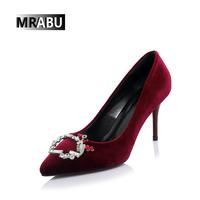 2017 best sale elegant pointed toe rhinestones rough leather slip on shoes ladies party wear shoes high heels