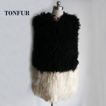 Women Natural Lamb Fur Mixed With Real Genuine Mongolia Sheep Fur Vest Hot Selling