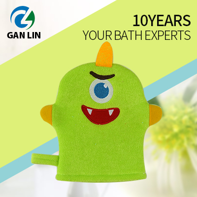 Cute monster polyester baby wash mitt
