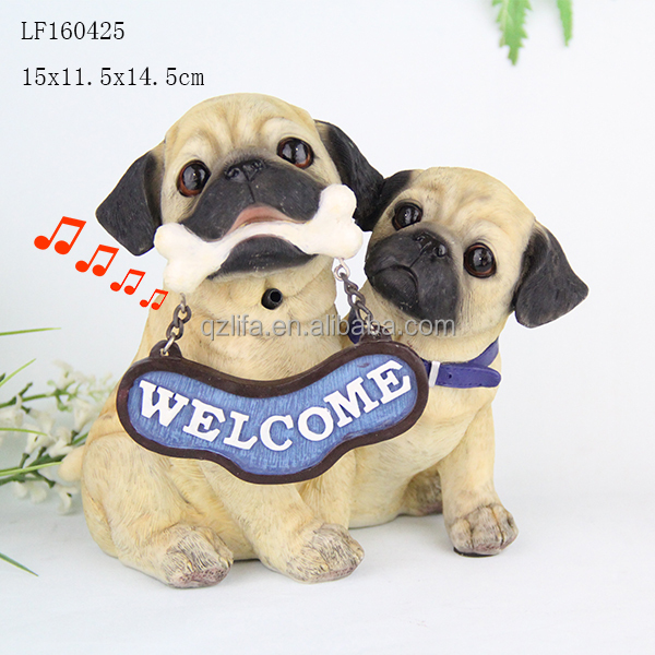Resin Barking Mother and Son Weclome Dog Figure