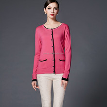 Autumn / Winter Cashmere Long Sleeve Crew Neck Buckles Cardigan Lady Cream Pink Sweater Pockets New Design Knitwear
