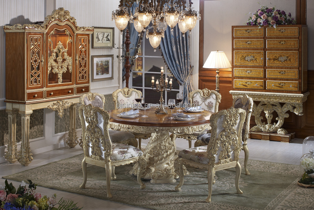 Bisini Luxury Wooden Round Dining Table, Luxury Baroque Style Dining Room Furntiure Round Dining Table