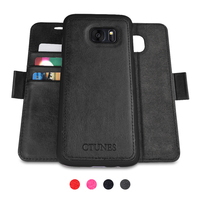 C&T 2 in 1 Magnetic Detachable Case Premium PU Leather Wallet Case For Samsung Galaxy S7 Edge