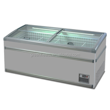 2014 AHT 3 sliding glass door chest freezer with CE commercial refrigerator curved freezer island freezer