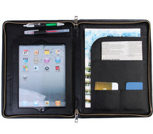 Black Leather Portfolio Case for iPad with Stand and Conference Writing Pad