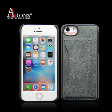 With card slots genuine leather case for iPhone 5