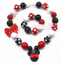 Beaded jewelry with Cartoon Mouse Knot Pendant Latest design beads Girls Bubblegum Chunky Necklace&Bracelet Set