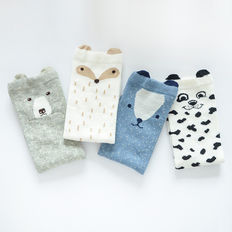 Cartoon Baby Sock Korean Fashion Squirrel Bunny Fox cat Boys Girls Stocking Knee High Socks Cotton kid's Socks