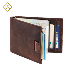 Hot selling RFID full grain thin men handmade custom minimalist money clip slim card holder genuine leather wallet for men