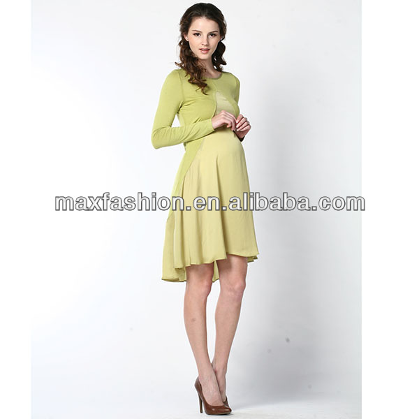 Light yellow stretch fancy maternity dress real dress made by designer clothing manufacturers