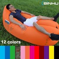 2016 Inflatable Hangout Lounger Outdoor Air Sofa Beach Chair Swimming Bed Sleeping Bean Bag with Side Pockets