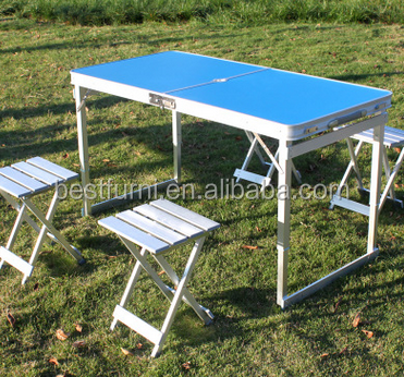 2016 Latest New Aluminum Folding Buffet Table Folding Desk W/ Chairs Hot Sale