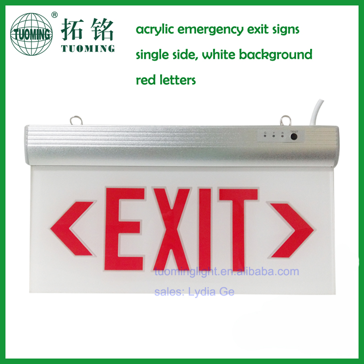 3 hours single side emergency red exit signs