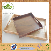 Wooden Serving Tray With Handles Retro Vintage Barware Tea Service