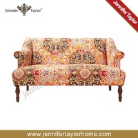 Printed kantha quilt settee, American antique style sofa
