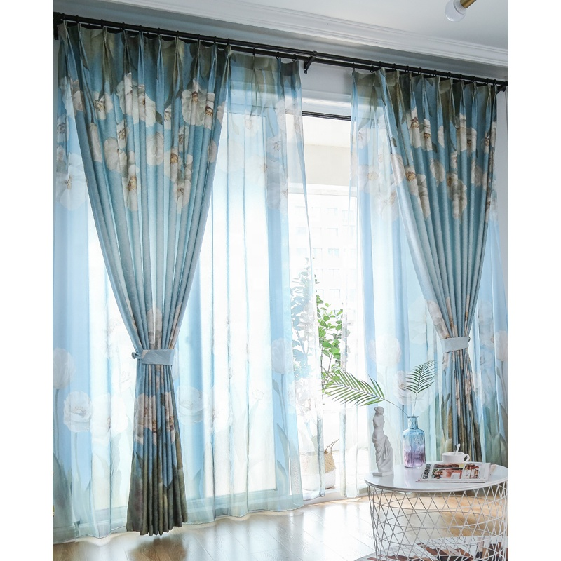 2019 new design hot sale Colorful Floral Summer theme Cotton Linen fancy Curtain for living room OEM ODM low MOQ