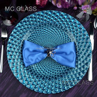 Wholesale Dinnerware China Events and Party Blue Glass Decoration Charger Plate