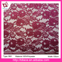 Fashion polyester Lace Fabric for wholesale, jacquard cord lace fabric