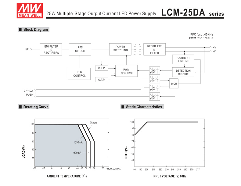 Meanwell Power Supply LCM-25DA (25W 1050mA) Multiple-Stage Output Current 25W 1050mA 24V Dali LED Driver