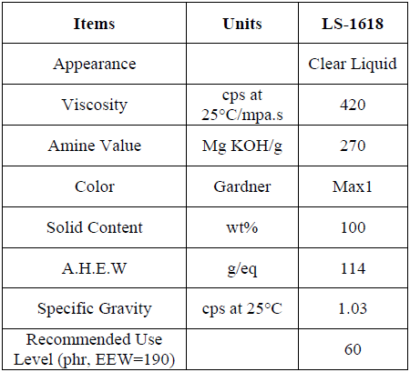 CURING AGENT LS-1618 FOR EPOXY RESIN