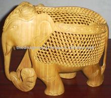 Painted Wooden Craft Elephant-B