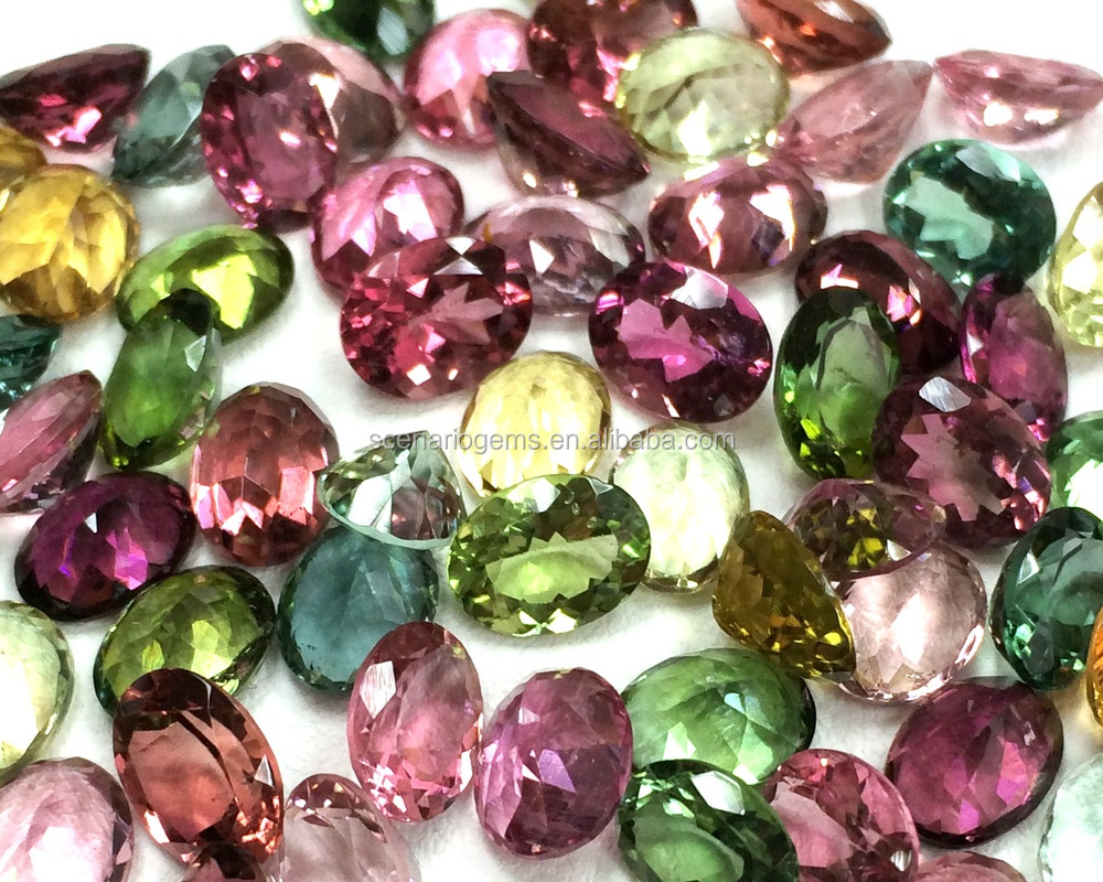 Oval 6x8 Natural Loose Gemstone Multi Color Faceted Top Quality Tourmaline Cut