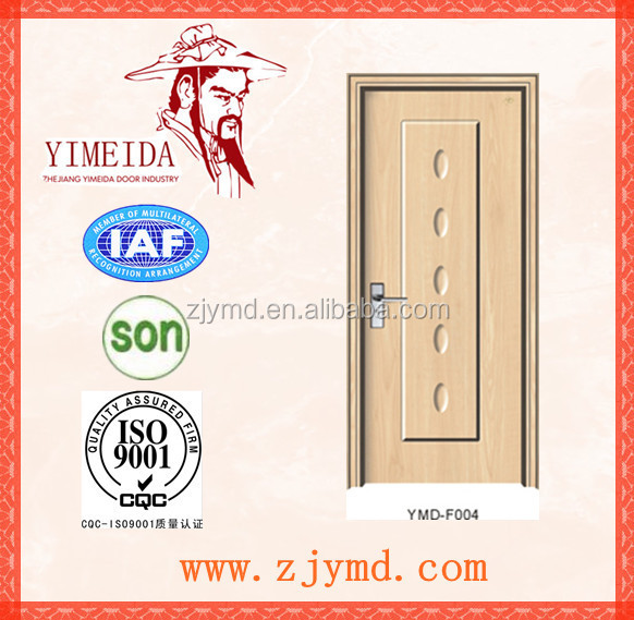 Luxury mdf interior wooden door with pvc coating