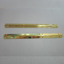 Brass plated steel Small Box Piano Hinge with 180DG Stop