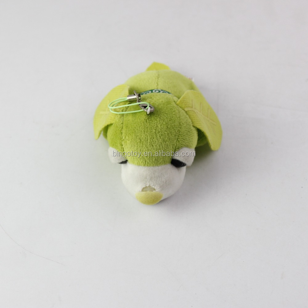 High quality hot sale promotion mini stuffed green dog keychain plush toys