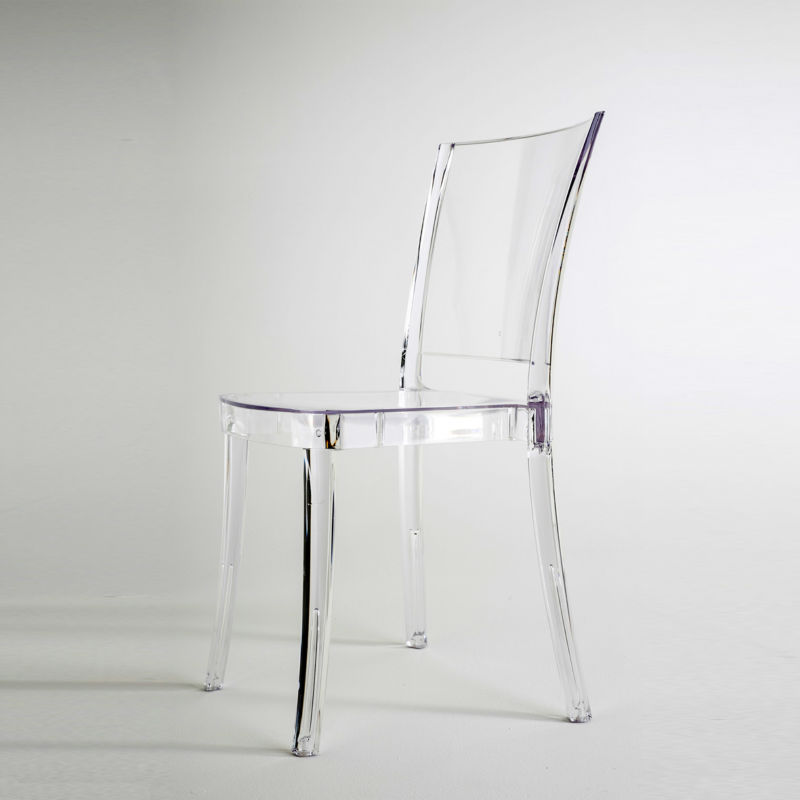 Chaise transparente en polycarbonate lucienne neutre - Table a manger transparente ...
