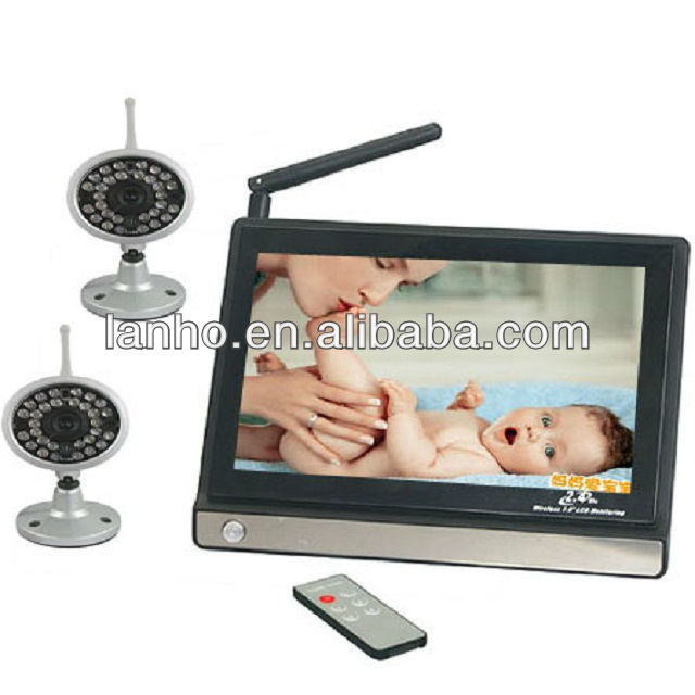Wireless Square Security 2 Camero Digital LCD 1 Video 7'' Infant Baby Monitor