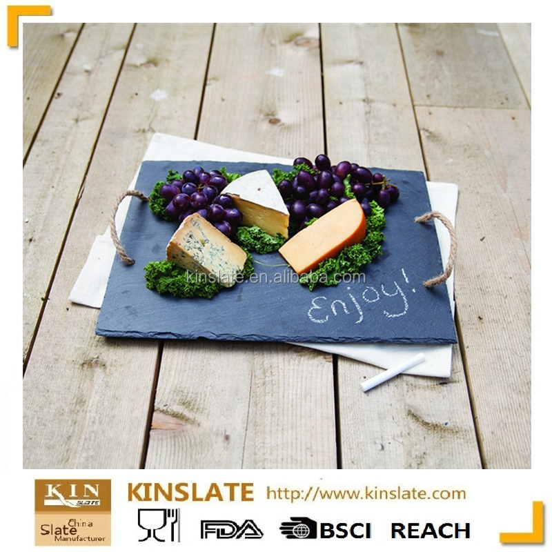Wholesale Cut Edge Rectangular Black Slate Cheese Tray With Laser Design (Customized)