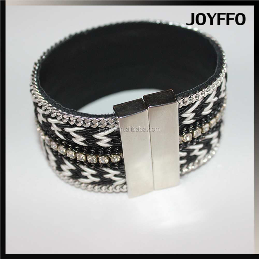 3YM-025 Accessory Jewelry 2017 Magnetic Wool Woven PU Leather Bracelet