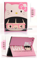2014 New Arrival Cute Hello Kitty Leather Case Cover for Apple iPad