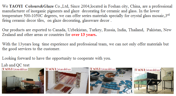 inorgnic crystal glass mosaic pigments firing 800C