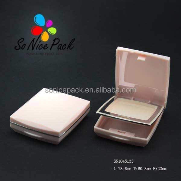 Pink compact powder container cosmetic packaging